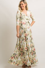 Ivory Floral Wrap Tall Maternity/Nursing Dress