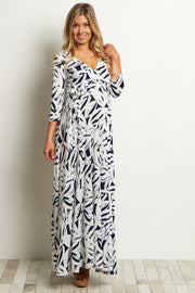 Ivory Navy Abstract Maternity/Nursing Wrap Dress