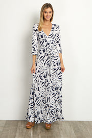 Ivory Navy Abstract Wrap Dress