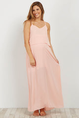 Light Pink Overlay Chiffon Maternity Maxi Dress