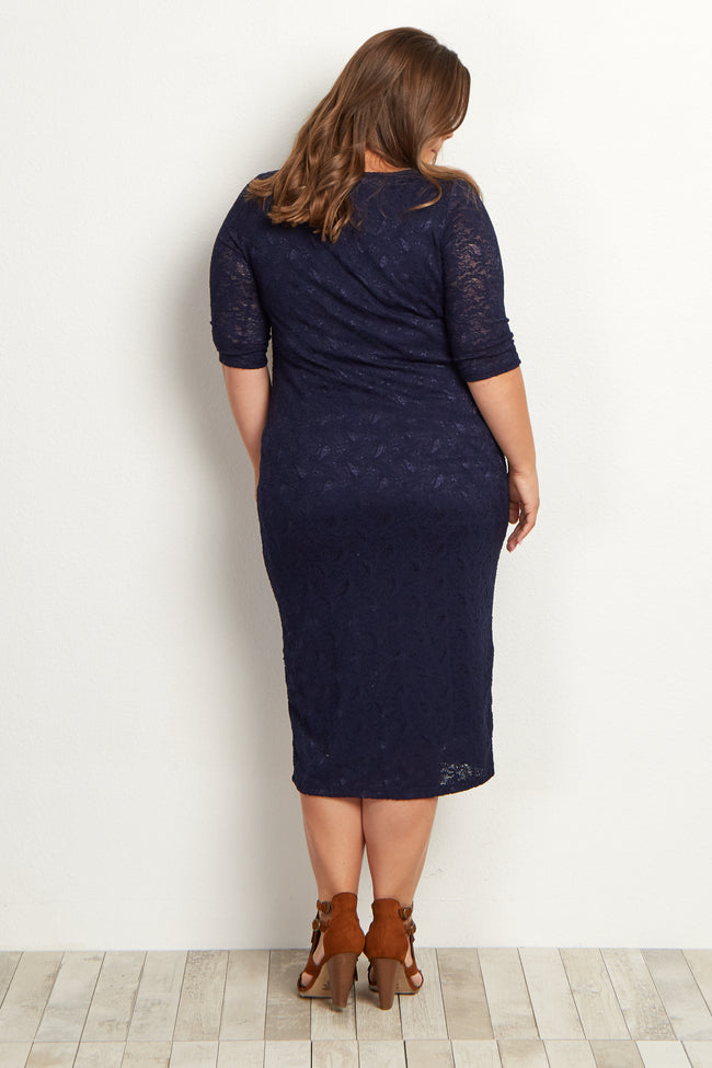 Navy Blue Lace Maternity Plus Midi Dress