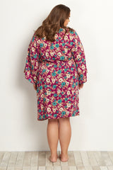 Magenta Floral Plus Size Delivery/Nursing Maternity Robe