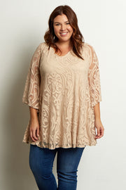 Beige Damask Lace Plus Size Blouse
