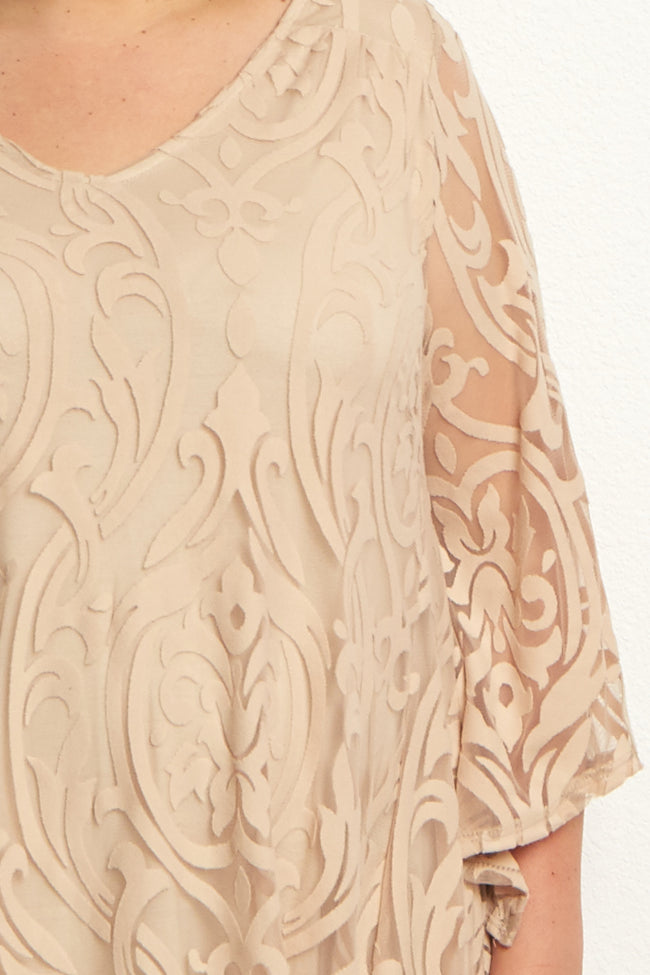 Beige Damask Lace Plus Size Maternity Tunic