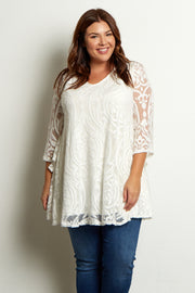 Ivory Damask Lace Plus Size Tunic