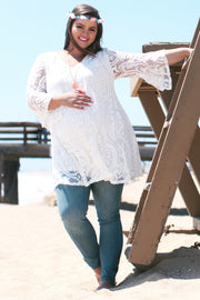 Ivory Damask Lace Plus Size Maternity Tunic