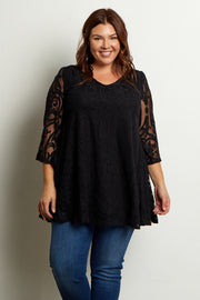 Black Damask Lace Plus Size Dress