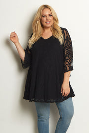 Black Damask Lace Plus Size Maternity Tunic