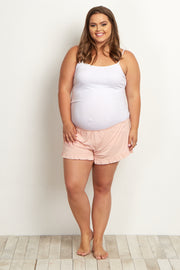 Light Pink Ruffled Trim Plus Maternity Pajama Shorts