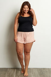 Light Pink Ruffled Trim Plus Pajama Shorts