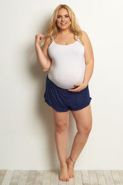 Navy Ruffled Trim Plus Pajama Shorts