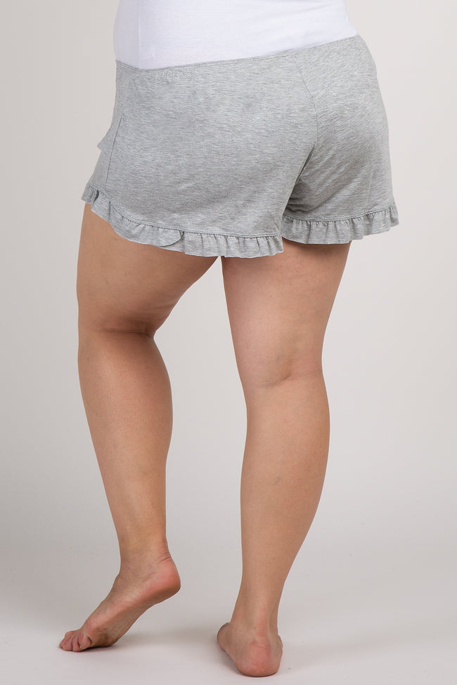 Grey Ruffled Trim Maternity Plus Pajama Shorts