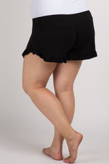 Black Ruffle Trim Plus Maternity Pajama Shorts