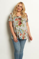 Grey Rose Short Sleeve Plus Size Maternity Top