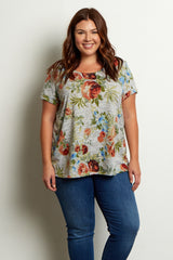 Grey Rose Short Sleeve Plus Size Top