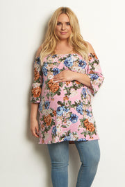 Pink Floral Bell Sleeve Plus Size Top