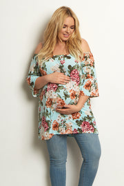 Mint Green Floral Bell Sleeve Plus Size Maternity Top