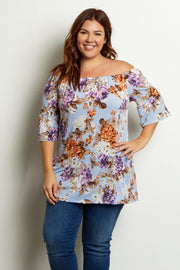 Light Blue Floral Bell Sleeve Plus Size Top