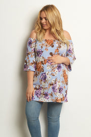 Light Blue Floral Bell Sleeve Plus Size Maternity Top