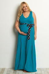 Teal Polka Dot Sash Tie Plus Size Maternity Dress
