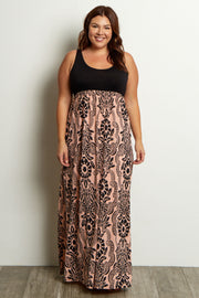 Peach Damask Plus Maxi Dress