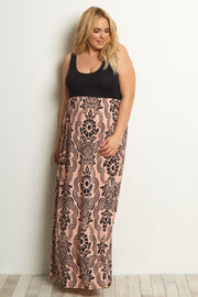 Peach Damask Plus Maternity Maxi Dress
