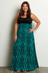 Green Damask Plus Maxi Dress
