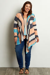 Peach Colorblock Knit Plus Size Cardigan