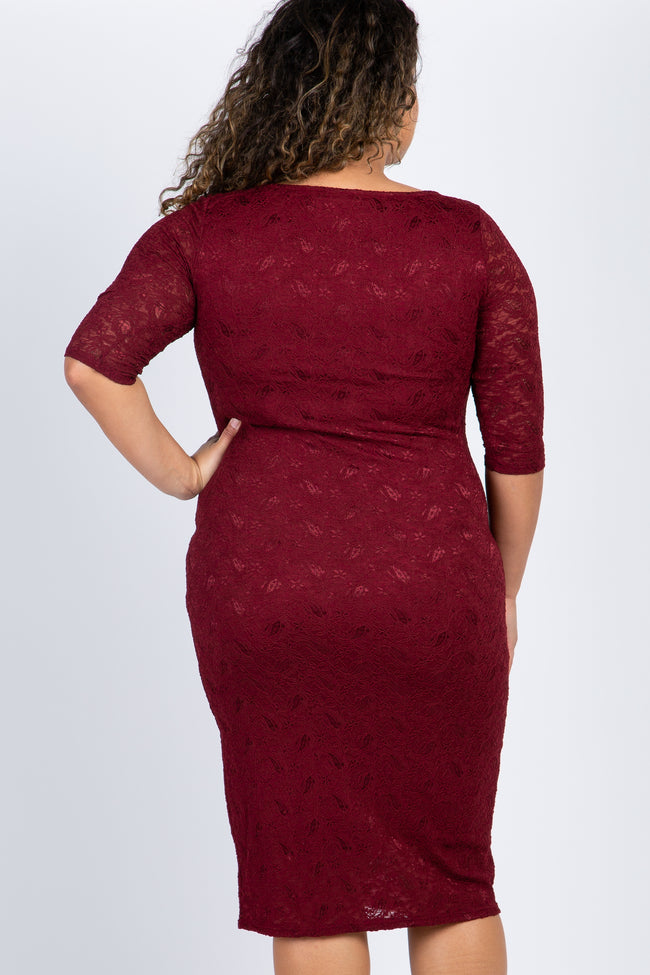 PinkBlush Burgundy Lace Maternity Plus Midi Dress