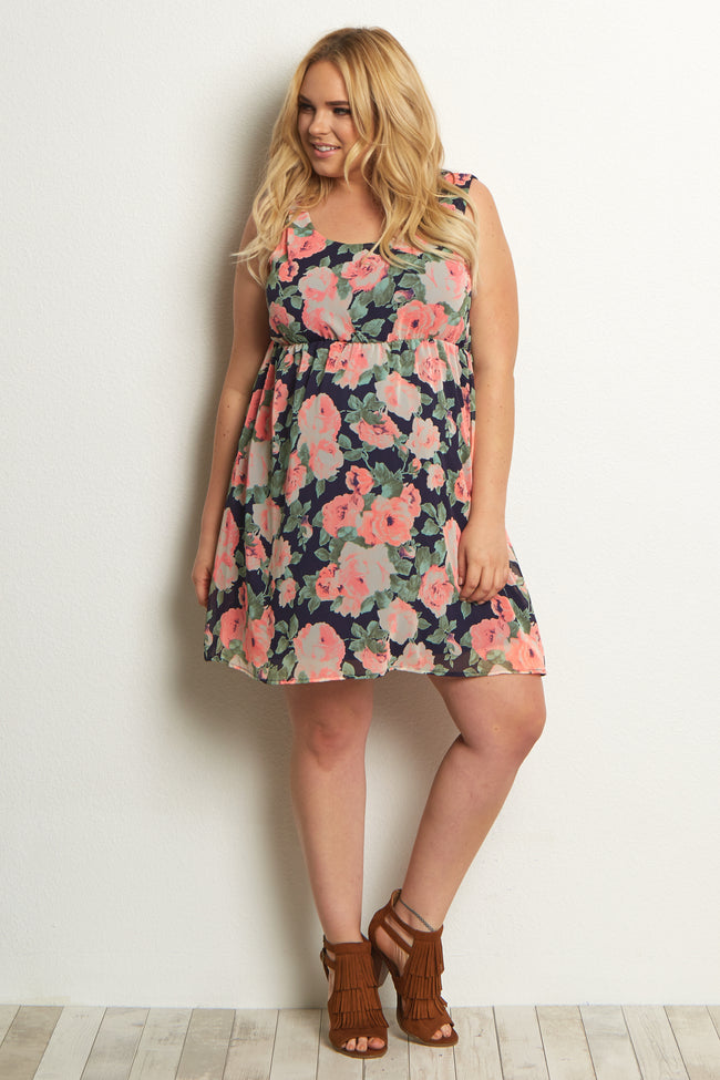 Navy Blue Neon Floral Chiffon Plus Size Maternity Dress