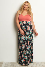 Peach Floral Bottom Plus Maternity Maxi Dress