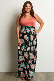 Peach Floral Bottom Plus Maxi Dress