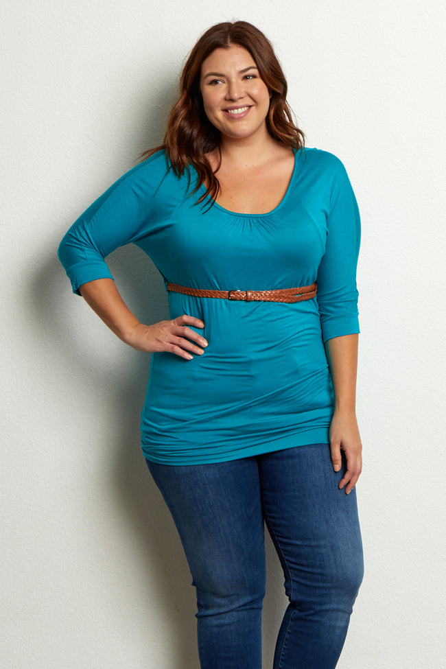 Jade Belted 3/4 Sleeve Plus Size Maternity Top