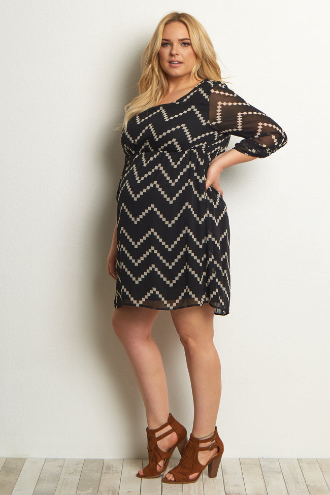 Black Chevron Plus Maternity Dress