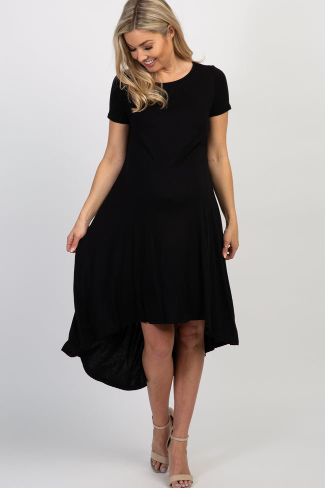 PinkBlush Black Short Sleeve Hi-Low Maternity Dress