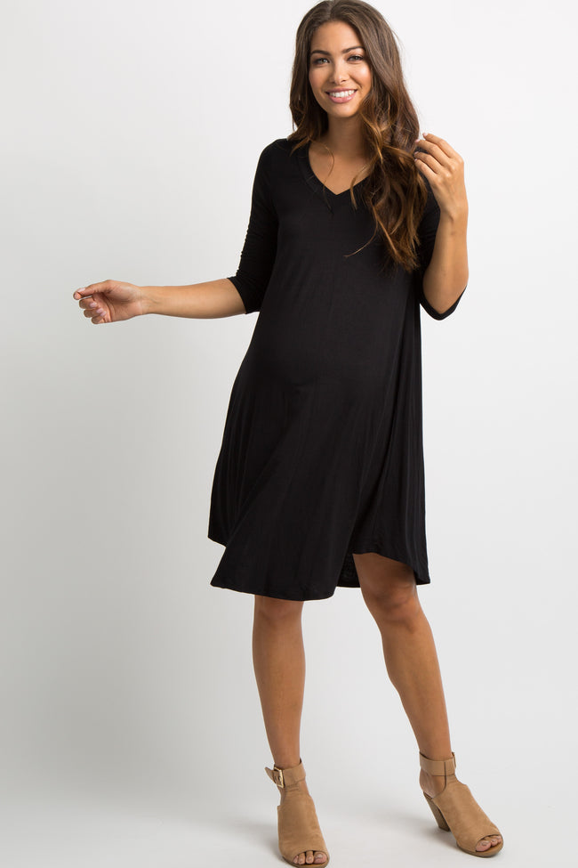 Black Solid V-Neck Maternity Shift Dress