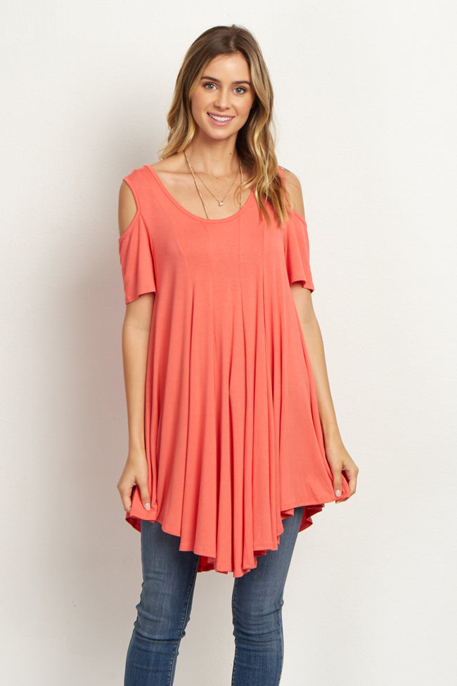 Coral Open Shoulder Tunic