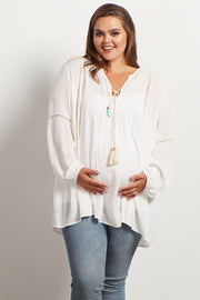 Ivory Crochet Accent Plus Size Bohemian Maternity Top