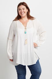 Ivory Crochet Accent Plus Size Bohemian Top