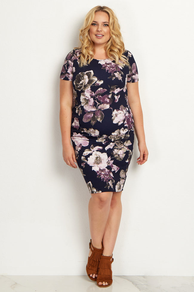 Navy Blue Floral Fitted Plus Size Maternity Dress