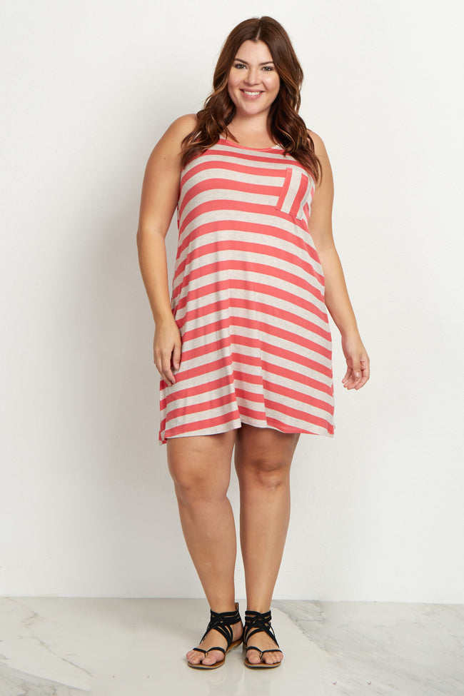 Coral Striped Pocket Front Plus Size Dress