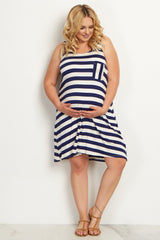 Navy Blue Striped Pocket Front Plus Size Maternity Dress
