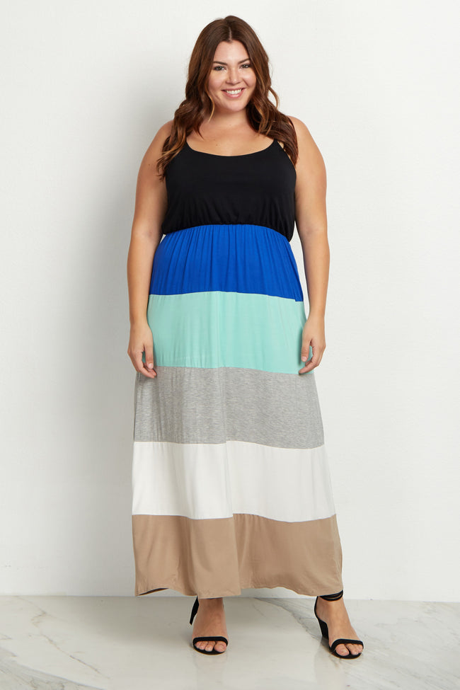 Black Top Colorblock Plus Size Maxi Dress