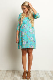 Jade Floral Chiffon Maternity Dress