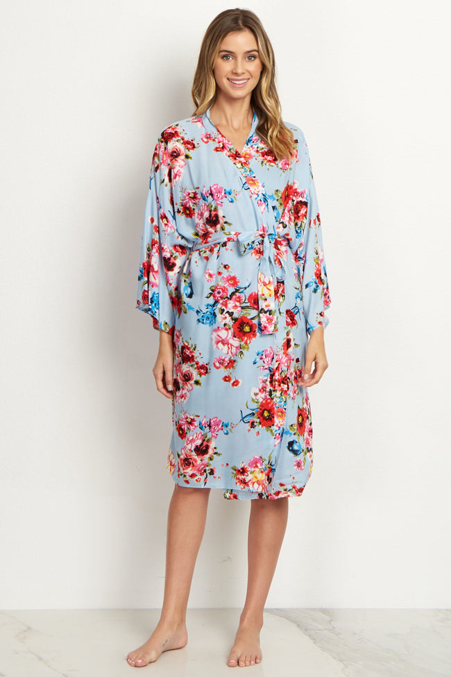 Light Blue Floral Delivery/Nursing Maternity Robe