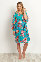 Jade Floral Delivery/Nursing Maternity Robe