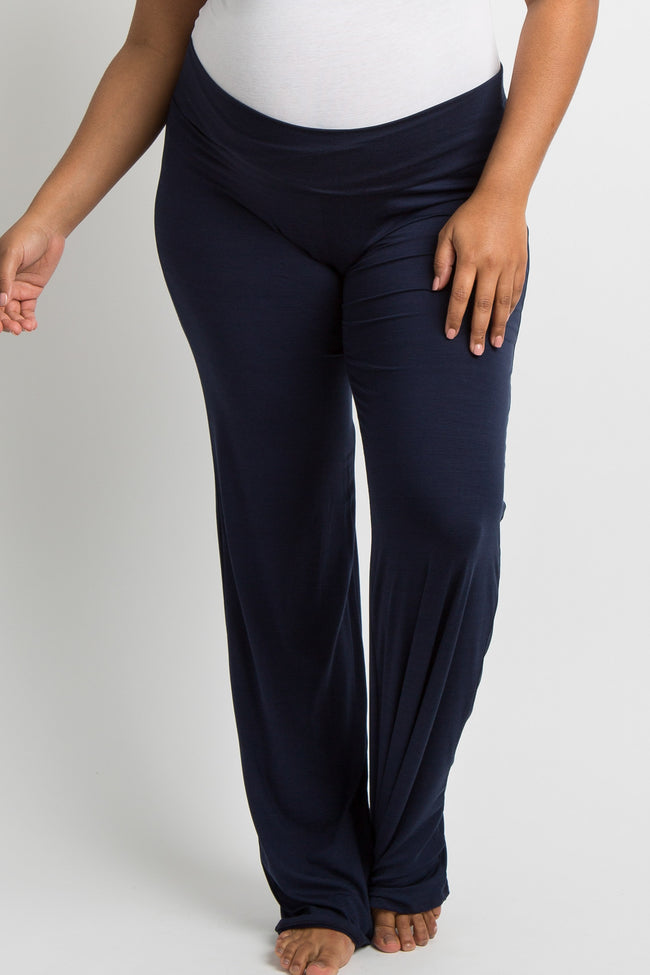 Navy Blue Solid Plus Long Maternity Yoga Pants