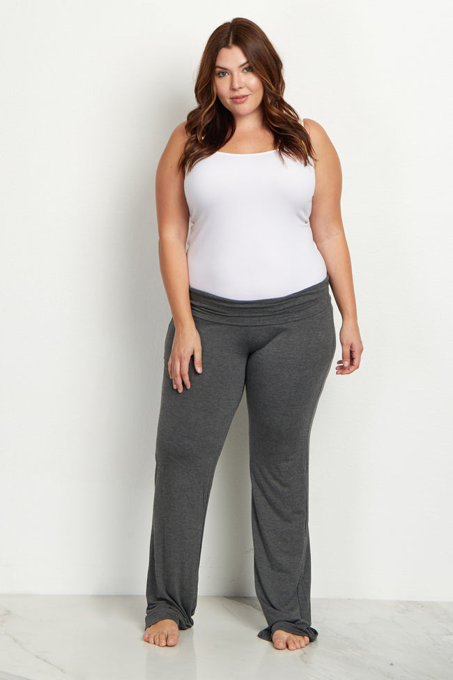 Charcoal Grey Solid Plus Long Yoga Pants