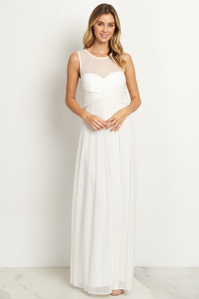 Ivory Mesh Neckline Ruched Bust Maternity Evening Gown