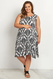 Ivory Damask Sleeveless Plus Size Maternity Dress